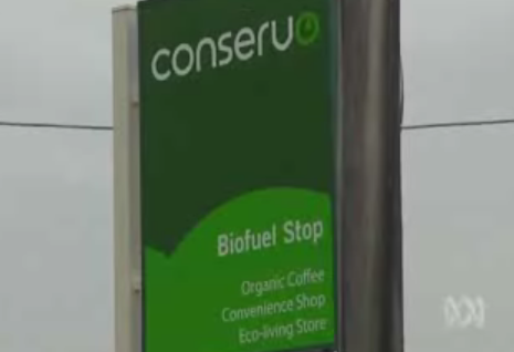 Conservo biofuel station, image from ABC's Lateline Business