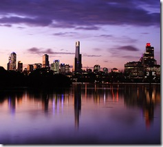 Melbourne at sunset. Image from http://flickr.com/photos/rtv/199179788/, licenced under CC 2.0.
